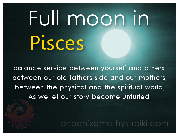 Full Moon in pisces graphic with poem